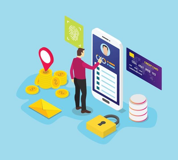 El concepto de información de datos personales con personas de hombres accede a los datos con el símbolo del icono de señal de privacidad de seguridad