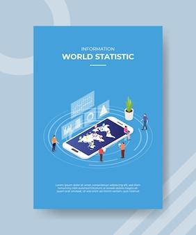 Concepto de información de estadísticas mundiales para la plantilla.