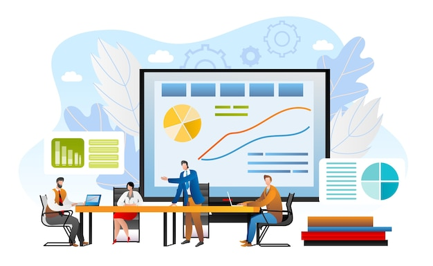Concepto de información, ilustración de reunión de negocios. hombre de negocios dando presentación al equipo en la oficina. resumen comercial con metas anuales en trabajo en equipo. sala de conferencias con gráficos informativos, estrategia.