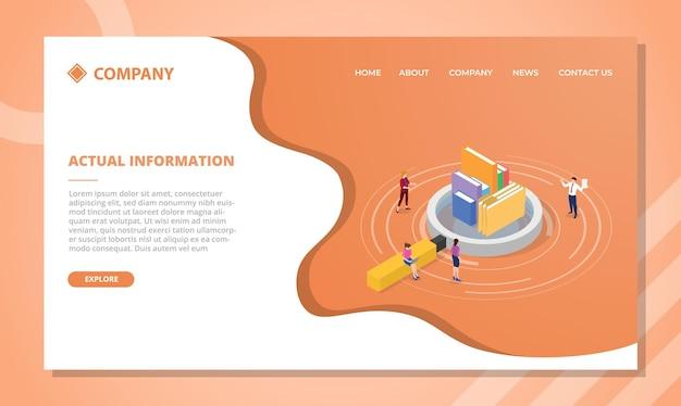 Concepto de información real para plantilla de sitio web o diseño de página de inicio de aterrizaje