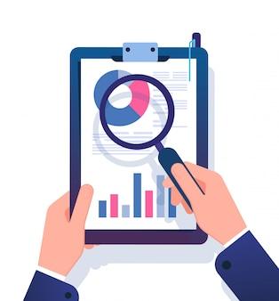 Concepto de informe comercial. hombre de negocios que investiga el documento de la oficina financiera con la lupa. ilustración de vector de análisis de datos