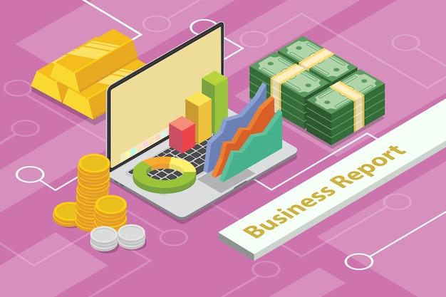 Concepto de informe de negocios 3d isométrico