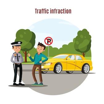 Concepto de infracción de tráfico colorido
