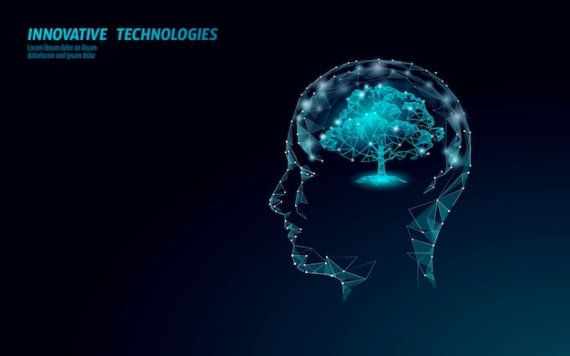 Concepto de ingeniería de árbol de biotecnología digital virtual. hacer. solución de la mente de la naturaleza. ciencia médica idea creativa. eco polígono biología investigación futura