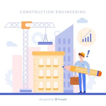 Concepto de ingeniería de construcción plana