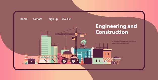Concepto de ingeniería de construcción de viviendas máquinas que construyen casas trabajando en el espacio de copia del sitio de construcción