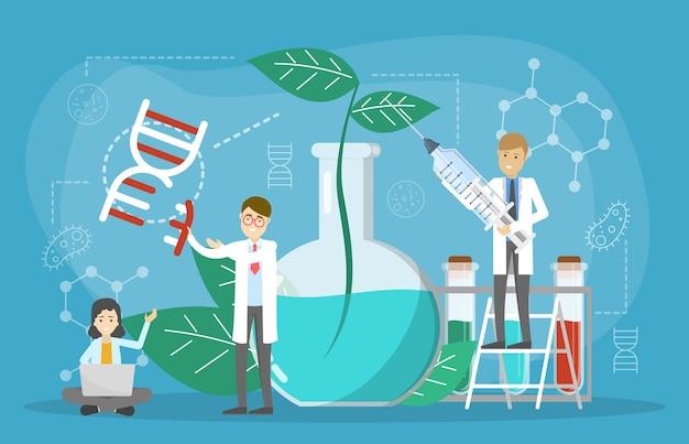 Concepto de ingeniería genética. alimentos transgénicos. biología y química