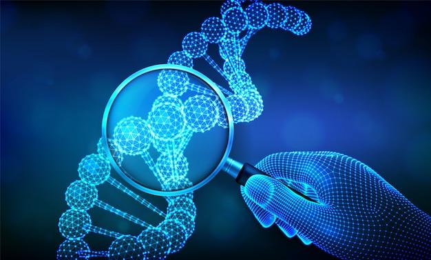 Concepto de ingeniería genética con lupa en mano y secuencia de adn. estructura de estructura de moléculas de código de adn de estructura metálica.