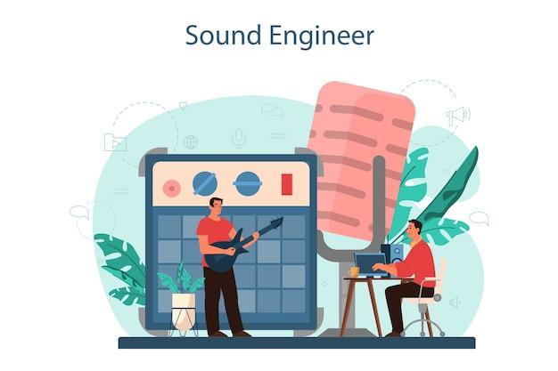 Concepto de ingeniero de sonido. industria de producción musical, equipos de estudio de grabación de sonido. creador de la banda sonora de una película.