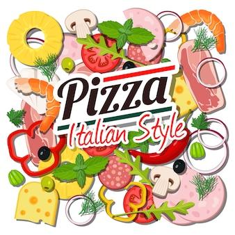 Concepto de ingredientes de pizza italiana