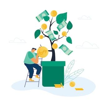 Concepto de ingresos bancarios y de inversión
