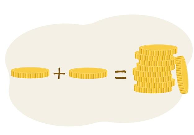 Concepto de ingresos. moneda más moneda equivale a mucho dinero. aumento
