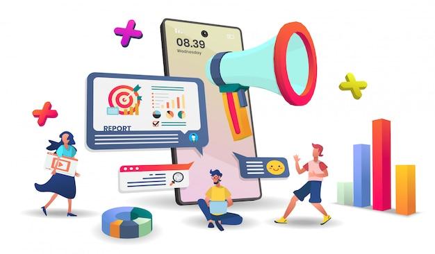 Concepto de inicio en aplicaciones móviles. concepto de teléfono inteligente de la tienda en línea adecuado para la aplicación de banner.