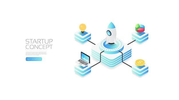 Concepto de inicio isométrico, análisis de datos, concepto de negocio