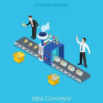 Concepto de inicio de negocio isométrico plano transportador de idea signo de idea de bombilla de raya de planta de producción que se convierte en dinero en dólares.