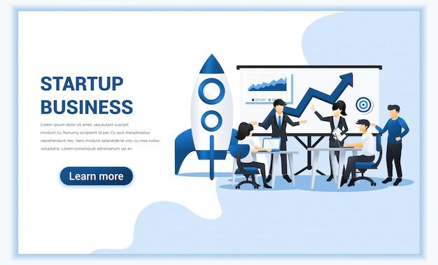 Concepto de inicio de negocio con personas en reunión y trabajando en la presentación de pantalla. ilustración