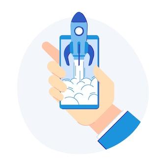 Concepto de inicio del teléfono. cohete móvil para lanzamiento de desarrollo de nuevos productos. ilustración vectorial plana