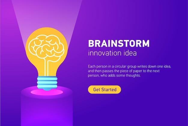 Concepto de innovación con bombilla de luz creativa