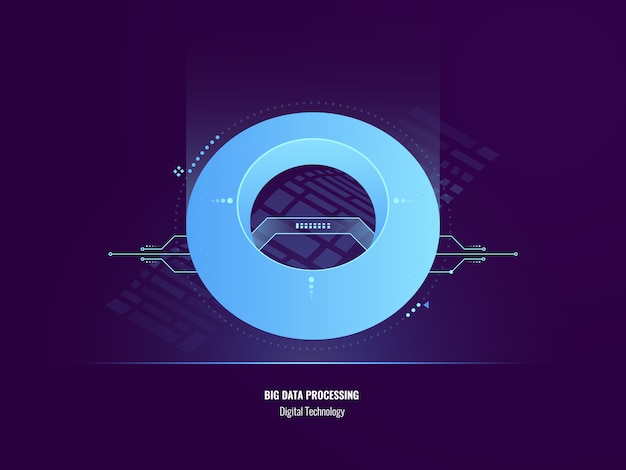 Concepto de insight de datos, ilustración abstracta de análisis de datos grandes, tecnología digital