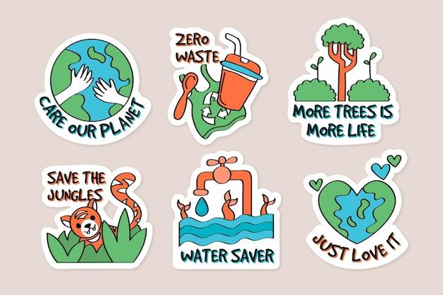 Concepto de insignias de ecología dibujadas a mano