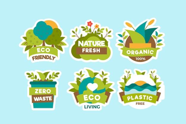 Concepto de insignias de ecología dibujado a mano