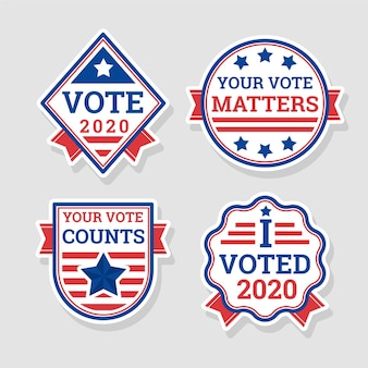 Concepto de insignias y pegatinas de votación