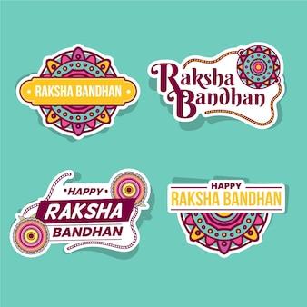 Concepto de insignias planas raksha bandhan
