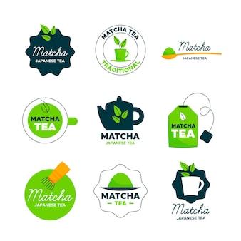 Concepto de insignias de té matcha