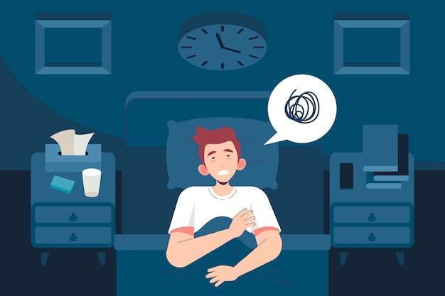 Concepto de insomnio de hombre despierto