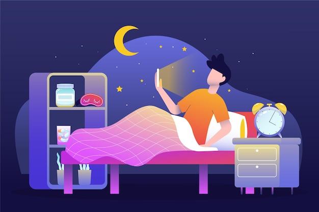 Concepto de insomnio con hombre y teléfono