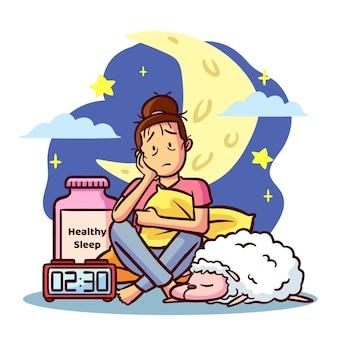 Concepto de insomnio con mujer y luna