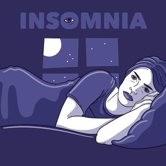 Concepto de insomnio con mujer