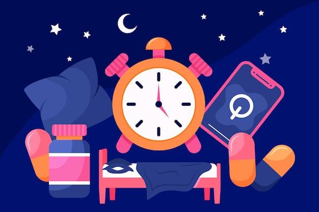 Concepto de insomnio con reloj
