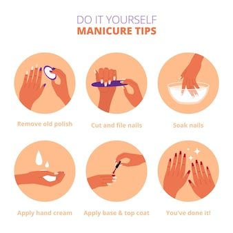 Concepto de instrucciones de manicura