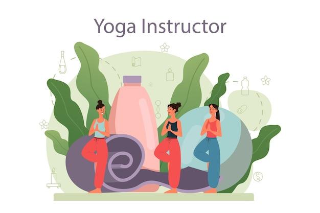 Concepto de instructor de yoga. asana o ejercicio para hombres y mujeres.
