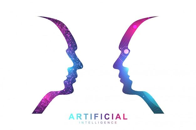 Concepto de inteligencia artificial y aprendizaje automático. visualización de big data humana