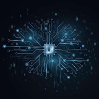 Concepto de inteligencia artificial. cerebro tecnológico cyborg.