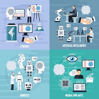 Concepto de inteligencia artificial icons set