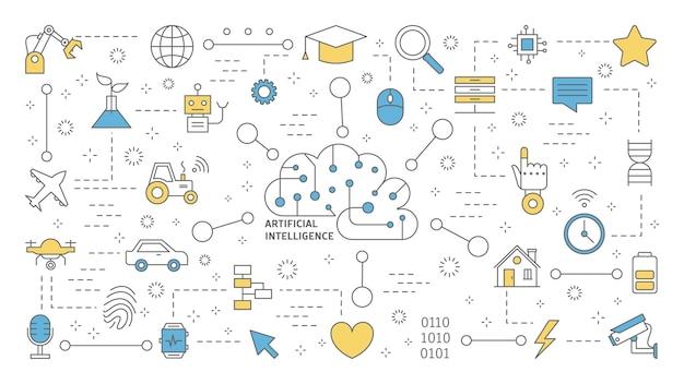 Concepto de inteligencia artificial o inteligencia artificial. tecnología futurista y aprendizaje automático. idea de asistencia robótica y mente humana. conjunto de iconos de línea. ilustración