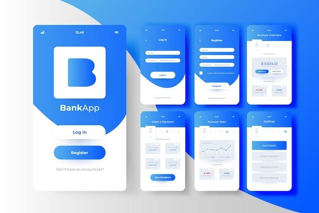 Concepto de interfaz de la aplicación bancaria
