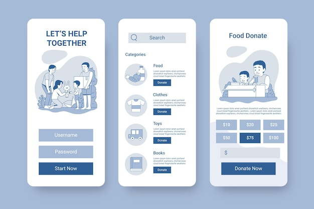 Concepto de interfaz de la aplicación de caridad