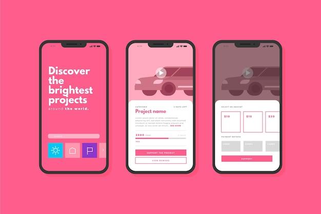 Concepto de interfaz de aplicación de crowdfunding