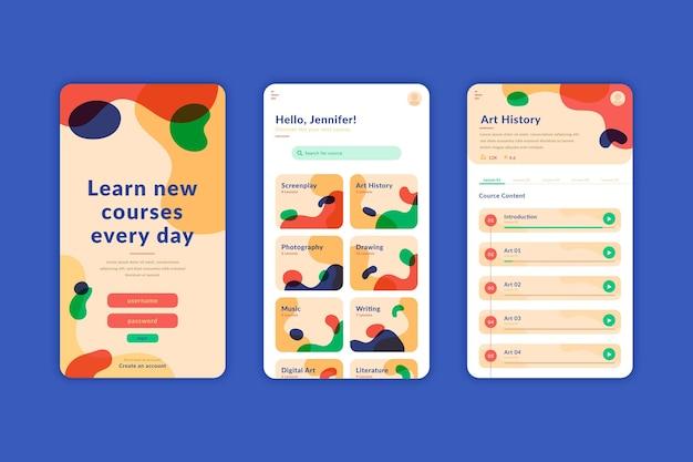 Concepto de interfaz de la aplicación del curso