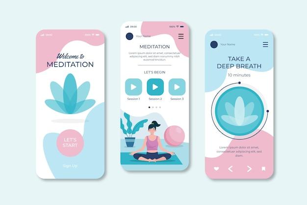 Concepto de interfaz de la aplicación de meditación