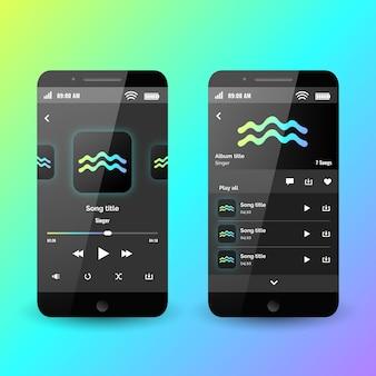 Concepto de interfaz de la aplicación del reproductor de música