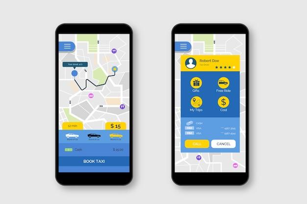 Concepto de interfaz de aplicación de taxi