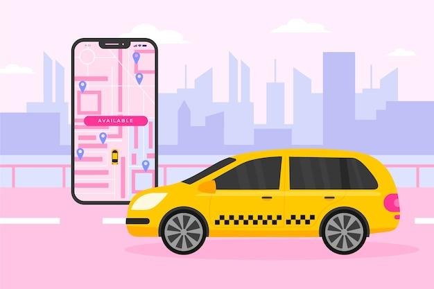 Concepto de interfaz de la aplicación de taxi