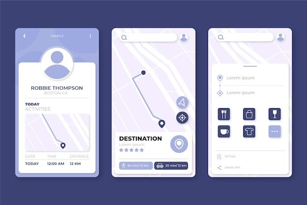 Concepto de interfaz de la aplicación de ubicación