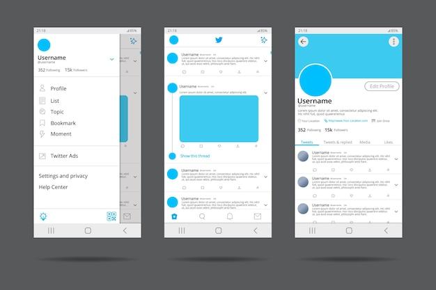 Concepto de interfaz de twitter