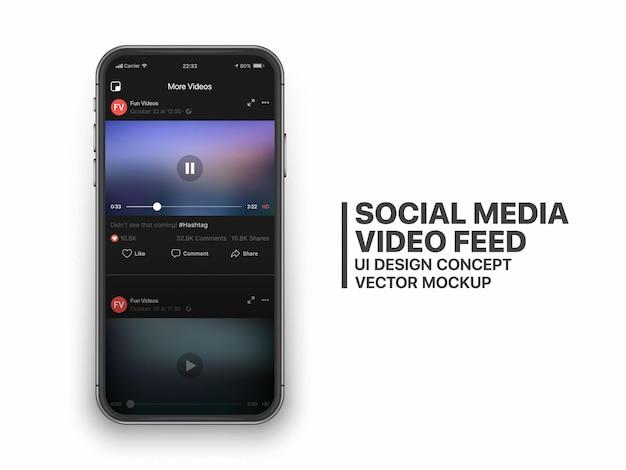 Concepto de interfaz de usuario de alimentación de video de redes sociales para redes sociales en la pantalla del teléfono inteligente aislado
